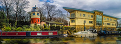 The Canal Lighthouse (A Digital Artist) Tags: uk bridge panorama lighthouse building architecture canal northwest panoramic lancashire salford barge hdr bridgewatercanal monton canon1855mm kevinwalker canon1100d