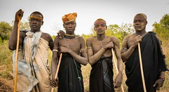 Mursi Warriors (Rod Waddington) Tags: africa portrait four african traditional culture tribal afrika omovalley warriors ethiopia tribe ethnic mursi cultural afrique ethiopian etiopia ethiopie etiopian