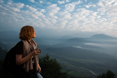 (the.redhead.and.the.wolf) Tags: nepal portrait sky woman mountains lady clouds sunrise back tea redhead curly noface pokhara sarangkot