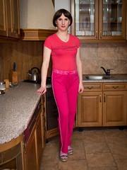 Pink @ home (blackietv) Tags: pink kitchen crossdressing tgirl transgender transvestite casual housewife crossdresser