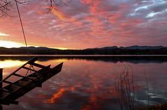 Raise The Bridge (SueZinVT) Tags: red clouds sunrise silhouettes deck ladder lakebomoseen canon70d suezamecnik