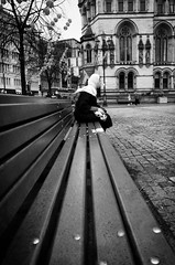 On The Bench (nigelhunter) Tags: street urban woman white scarf bench square asian manchester candid seat albert