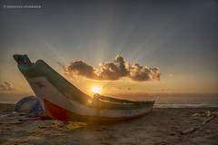 A Bright Beginning, Marina Beach, Chennai (Saravanan Ekambaram) Tags: morning sunset sky sun india nature sunshine clouds marina sunrise landscape madras marinabeach chennai tamilnadu goldenhour southindia waterscape