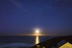Twilight (102/366) (AdaMoorePhotography) Tags: blue sea orange moon white seascape reflection building night clouds stars landscape coast countryside twilight nikon cornwall waves space land day102 366 cornishcoast d7200
