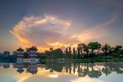 Sunrise (ystan) Tags: cloud lake west reflection tourism weather sunrise garden pagoda chinese twin jurong