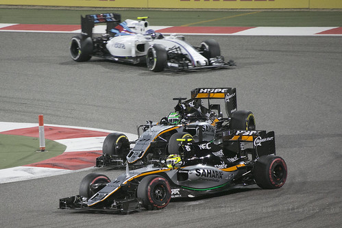 F1 race - Force India Perez and Hulkenberg