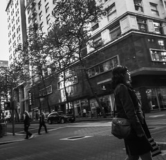 Life Downtown (TMimages PDX) Tags: road street city people urban blackandwhite monochrome buildings portland geotagged photography photo image streetphotography streetscene sidewalk photograph pedestrians pacificnorthwest avenue vignette fineartphotography iphoneography