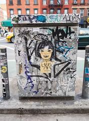 Girl (UrbanphotoZ) Tags: saved bear nyc newyorkcity streetart ny girl graffiti li manhattan wheatpaste lowereastside urbanart bangs electricbox washere enclosure missingtooth cev suitsandstreets suremre