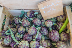 20160420 Provence, France 02475 (R H Kamen) Tags: food france purple vegetable cassis pricetag artichokes foodmarket bouchesdurhne provencealpescotedazur largegroupofobjects provencealpesctedazur highangleview westernscript rhkamen