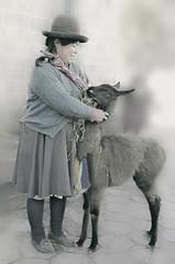 Lunchtime (Artypixall) Tags: portrait woman peru cusco desaturated alpacas faa