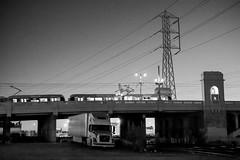 (Terrini) Tags: bridge truck underpass losangeles downtown powerlines nighttime railroadtracks losangelesriver 1ststreetbridge