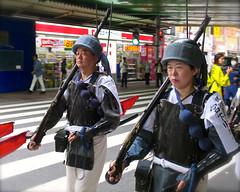 Sleep-Marching in Shinjuku (Mondmann) Tags: travel woman man history japan walking japanese tokyo shinjuku asia parade marching uniforms parading sleepwalking militaryuniforms mondmann canonpowershots120 historicaluniforms sleepmarching
