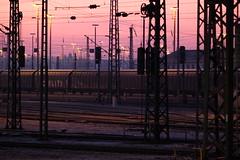 Rangierbahnhof Mannheim (christian.riede) Tags: morning blue signs schilder train sunrise frost chaos freezing zug hour rails lantern laterne kalt masts sonnenaufgang morgen strom mannheim gitter oberleitung schienen waggons blaue gewichte masten stunde rangierbahnhof