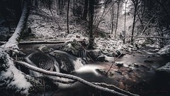 Frozen in Time (Augmented Reality Images (Getty Contributor)) Tags: longexposure trees winter ice water forest canon woodland landscape scotland waterfall rocks perthshire hdr