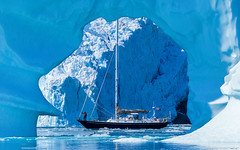 JHH_11745_Arch-Berg (Mistralis Expeditions) Tags: blue sea cold ice expedition water berg sailboat boats aluminum arch yacht framed calm glacier arctic adventure greenland fjord rhodes cutter aluminium growler sloop mccurdy brash sndre morganscloud skjoldungesund