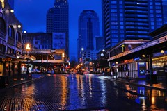 First and Pike (zenseas working) Tags: seattle longexposure morning urban brick wet rain reflections early washington downtown rainy pikeplacemarket pikeplace pikestreet firstavenue brickroad firstandpike