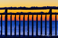 Snowy Fence At Dawn (KAM918) Tags: ocean new winter sky sun color beach weather sunrise fence dawn nikon snowy newhampshire nh hampshire atlantic hampton fenced fench d610