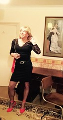 Ready to Party! (bethany_labelle) Tags: red black bag dress femme mini blonde transvestite heels tight shoulder crossdresser stilettos strappy patent