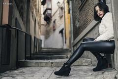 Aida - Toledo streets (maikel_nai) Tags: castle girl fashion wall photoshoot greeneyes toledo latex brunette blackjacket leggings blackboots inblack whitesweater leatherblack n4i n4ies stairs2016adelaidasesinaidabeautychaquetacuerochaquetanegracuerofaldanegrajerseyblancolabiosrojoslatexlegginsnegrosmaquillajemediasmorenaojodepezstrobisttaconesnegrostoledotoledoespaa