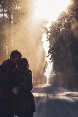 Winter forest (*Nishe) Tags: winter light boy sunlight snow love girl forest couple embrace nishe