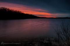 Sunset at the Lake (d_russell) Tags: trees sunset sky lake water clouds colorful kansascity shawneemissionpark