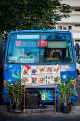 Mini-van selling food (Victor Wong (sfe-co2)) Tags: auto travel vacation food color bus art texture coffee sign illustration menu logo hawaii restaurant cafe automobile waikiki label fast style mini front cargo business commercial transportation vehicle destination service motor honolulu concept van pick avenue carrying uluniu