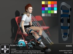 [ht+] knee brace (Corvus Szpiegel) Tags: life hospital this pain hurt play accident leg injury tendon patient sl medical doctor secondlife hate roller second nurse february ht knee medic rom brace rp derby acl splint genre role sore roleplay ligament 2016 patella hatethis