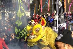 Firecrackers will scare off the spirits (Tony Shertila) Tags: city england festival liverpool costume europe chinatown fiesta dragon britain lion chinesenewyear celebration merseyside dra