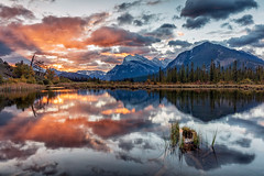 Bow Valley Sunrise (Kirk Lougheed) Tags: autumn sky cloud mountain lake canada fall water clouds sunrise landscape dawn nationalpark outdoor canadian alberta banff mountrundle rundle banffnationalpark mtrundle canadianrockies sulpher sulphermountain vermilionlake