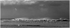 Kenfig Sands. (brian.batters (B-C-B)) Tags: sea sky beach weather mono waves sands roughsea kenfig theskiesabove kenfigburrows kenfigsands