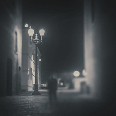 One of these days (Rob Castro) Tags: street city portrait people urban blackandwhite bw man blur film monochrome silhouette mystery night lensbaby vintage dark square alley noir mood bokeh outdoor availablelight candid existentialism surreal naturallight nighttime lamppost squareformat grainy melancholy urbanism vignette tone nihilism caucasian selectivefocus unsuspecting vignetteblur inmyworld xpressus allxpressus thedefiningtouch angstanduncertainty edge50 unsuspectingprotagonist iamgenerationimage