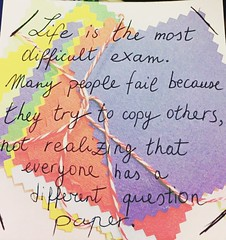 Life is the most difficult exam. Many people fail because they try to copy others - not realizing that everyone has a different question paper.www.lifehack.org (MESB88) Tags: life colors colorful remember pages why colori copy vita