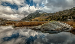Mount Tryfan,Snowdonia (einir.leigh) Tags: winter lake snow mountains color colour water rain wales clouds rural reflections river landscape outdoors nikon women rocks stream seasons lakes remote welsh snowdonia rugged northwales ogwen ogwenvalley