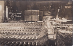 """NW Boyne City MI RPPC c.1910 FOUNDRY Interior View at Casting Room Furnace at the Boyne City Furnace owned by the Lake Superior Iron and Chemical Company Photographer UNK Charlevoix (UpNorth Memories - Donald (Don) Harrison) Tags: travel usa heritage history tourism vintage antique michigan postcard memories restaurants hotels trailer roadside upnorth cafes attractions motels cottages cabins campgrounds upnorthmemories rppc wonders"""" """"michigan memories"""" parks"""" entertainment"""" """"natural harrison"""" """"roadside """"travel """"don """"tourist puremichigan stops"""" """"upnorth"""