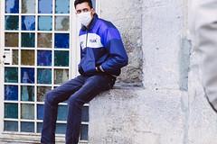 Esfahan (podobroci) Tags: door blue man square iran esfahan protectivemask