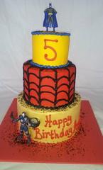 Superhero Birthday Cake (tasteoflovebakery) Tags: birthday blue red man black yellow cake kids iron spiderman superhero batman
