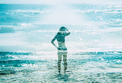 Blue Diamonds (Hayden_Williams) Tags: ocean city shadow sea summer woman film beach water girl silhouette female analog vintage pose person xpro crossprocessed waves doubleexposure grain hipster retro multipleexposure figure indie analogue panama panamacitybeach seafoam agfaprecisact100