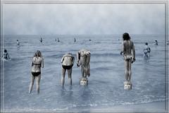 Sea in summertime (Jan 1147) Tags: blue sea summer people blackandwhite bw photoshop coast blauw belgium zwartwit noordzee zee scan northsea zomer processed 1973 bredene selectivecolor mensen zw kust scannednegative filmnegative buitenopname selectievekleur seainsummertime zeeindezomer