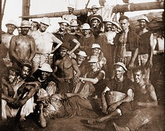 U.S.S. Yankee, crew after 48 hours coaling 1900  LOC-4a05518u (SSAVE w/ over 5 MILLION views THX) Tags: shirtless sailors 1900 spanishamericanwar coaling ussyankee