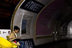 En attendant le mtro... (ROYEARS) Tags: street city people paris art canon underground subway eos 50mm waiting metro photos pics april wait m11 texting tweet t3i aprilfool tlgraphe 600d ligne11 twitter 1stapril 1eravril