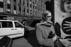 Street portraits (HKI DRFTR) Tags: life blackandwhite woman monochrome lady composition corner scarf helsinki europe european candid ad streetphotography streetportrait scene casual everyday finnish marimekko decisivemoment