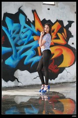 nEO_IMG_DP1U1598 (c0466art) Tags: light portrait water girl beautiful wall canon pose painting island nice colorful long pretty pants action body gorgeous country ruin line figure marta lovely charming tight elegant curve sao reflectiom tome antunes 1dx c0466art