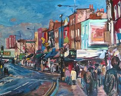 Camden North London (Captain Wakefield) Tags: road bridge light summer people urban london art modern buildings painting acrylic cityscape market camden contemporary north oil shops samuel impressionist burton