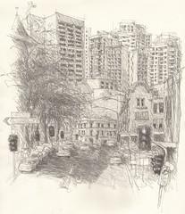 Haymarket - Sydney (Peter Rush - drawings) Tags: pencil sketch drawing sydney australia nsw haymarket ultimo peterrush urbansketchers urbansketcherssydney