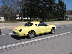 Blackjax Bar 4/10/2016 Ford Thunderbird (Speeder1) Tags: show street cruise two hot classic ford chevrolet car yellow bar rat pennsylvania muscle pa lane tavern rod 55 goons thunderbird aces willys gasket blacktop tbird eights birdsboro blackjax