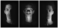 Canvas Triptych (Captain_Hooks) Tags: portrait blackandwhite white black grain noise sidelight underlight beneathlight