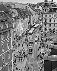 Graz, Hauptplatz (Geert Theunissen) Tags: bw monochrome austria sterreich graz steiermark styria hauptplatz dachterasse kastnerhler