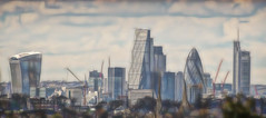 The City (Romeo Mike Charlie) Tags: city panorama london skyline architecture buildings gherkin 30stmaryaxe tower42 walkietalkie eltham 20fenchurchstreet herontower leadenhallbuilding fractalius