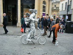 City of Bath, pedal cyclist.   WATCH OUT !!!!!! (rossendale2016) Tags: city original man out glasses bath cyclist box accident watch thoughtful somerset tourist tub figure static jar unusual pedal collecting clever attraction photogenic