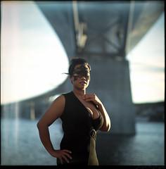 [ B ] eyond. (Da Niel Photo) Tags: bridge portrait woman black 6x6 film water analog mediumformat dress mask sweden feminine 120film fujifilm curve sundsvall 160nc filmsnotdead zenzabronicas2 shootfilmnotpixels